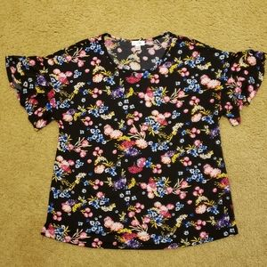 East 5th Black with Bright Floral Stretchy Blouse